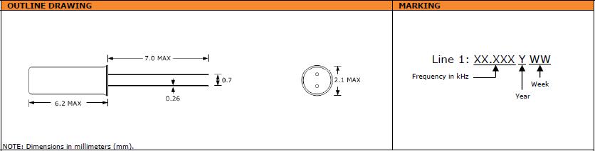 Suntsu晶振,石英晶振,STF622晶振,圆柱千赫表晶