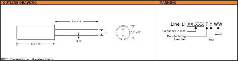 Suntsu晶振,石英晶振,STF832晶振,低频率音叉晶体