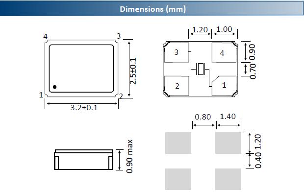 ACT晶振,贴片晶振,3225G SMX‐4晶振,3.2*2.5mm陶瓷面封装晶振